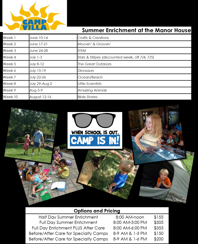 Summer-Long Enrichment Opportunities 2019 (Preschool-Kindergarten)